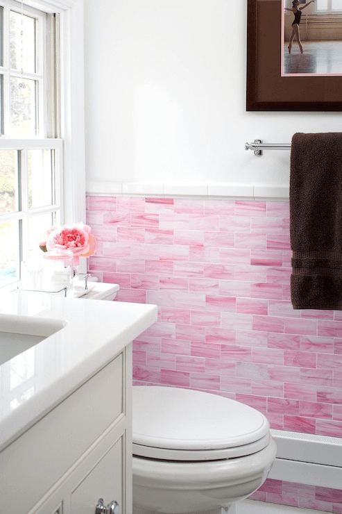 pink subway tile contemporary