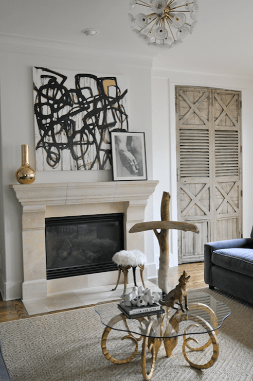 Art Above Fireplace Transitional Living Room Sally