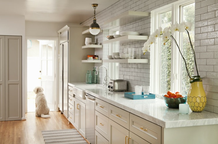 Light Gray Cabinets Contemporary Kitchen Bonesteel Trout Hall
