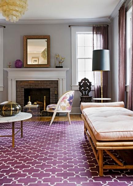 Trellis Rug Contemporary Living Room Angie Hranowsky