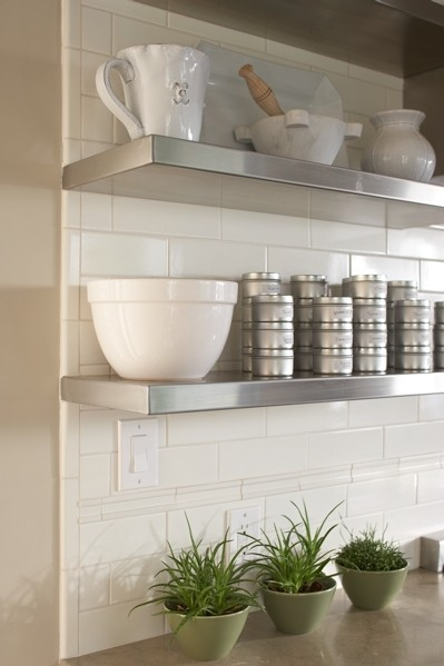 Stainless Steel Floating Shelves Transitional Kitchen
