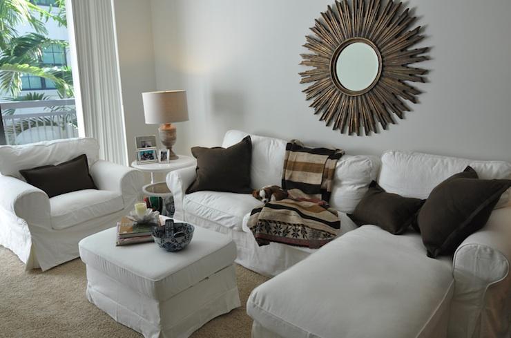 Gold Sunburst Mirror Transitional Living Room Cote
