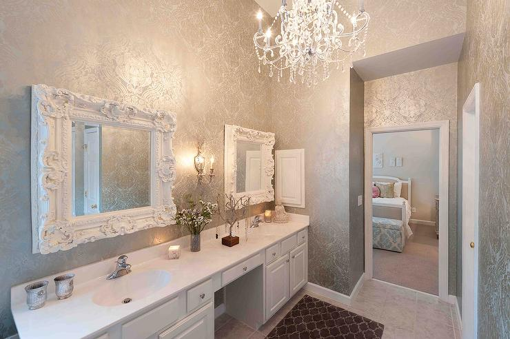 Gray Damask Wallpaper Transitional Bathroom Heather ODonovan Interior Design