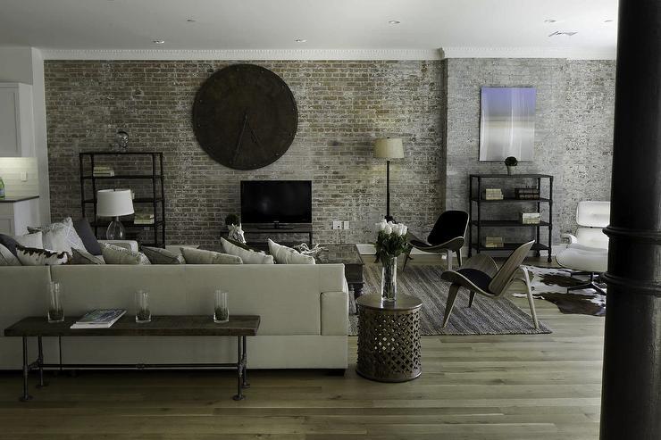 Brick Living Room Ideas Contemporary Living Room Benjamin Moore Decorators White Marie Burgos Design