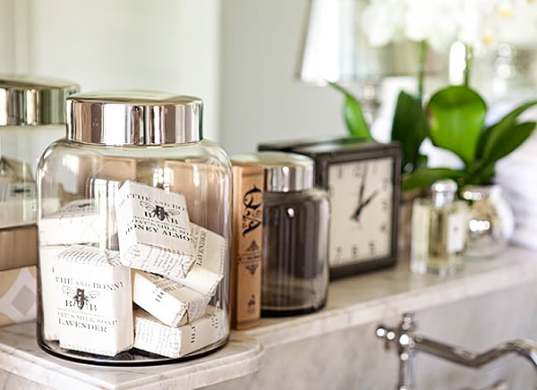 Suzie: FOUND - Kristin Alber - Gorgeous bathroom vanity vignette with vintage canisters, marble ...