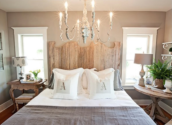 Suzie: FOUND - Kristin Alber - Sweet cottage bedroom with taupe walls paint color, gray ...