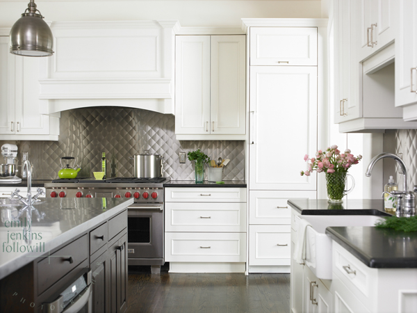 Quilted backsplash - Transitional - kitchen - Emily ... on Backsplash For Black Granite Countertops And White Cabinets  id=23368