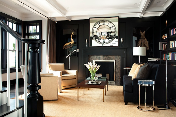 LDa Architects - living rooms - glossy, black, built-ins, moldings, fireplace, black, velvet, sofa, ivory, accent chairs, nailhead trim, black sofa, black velvet sofa,