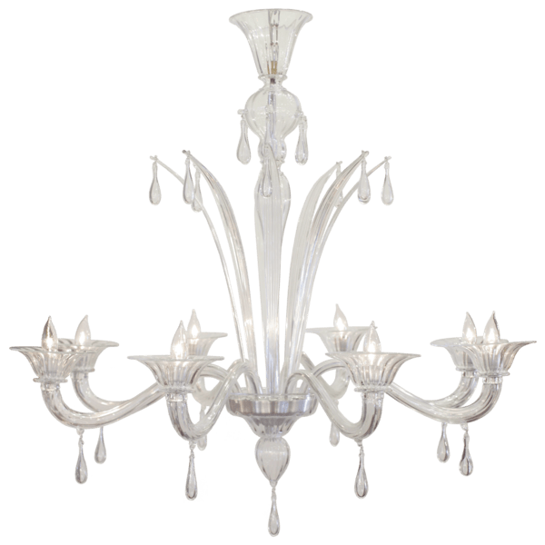 Murano Glass 8 Branch Chandelier By Salviati