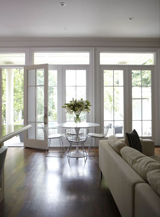 Wall Of French Doors And Transom Windows Cottage