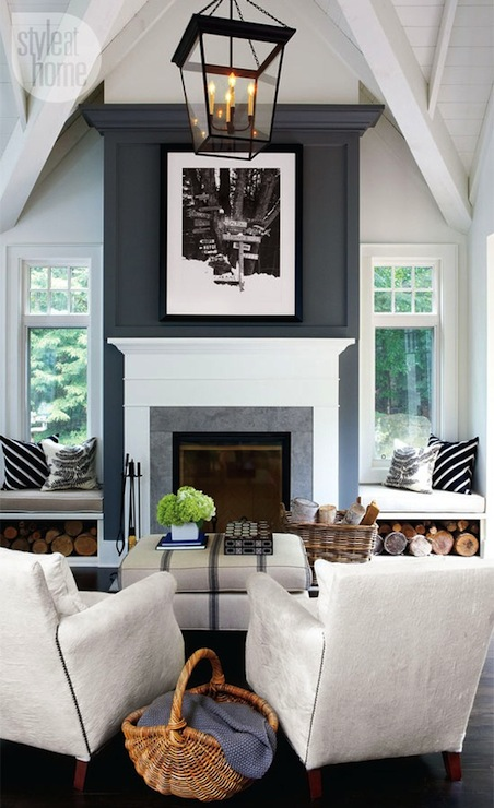 Fireplace Window Seats Contemporary Living Room Style At Home