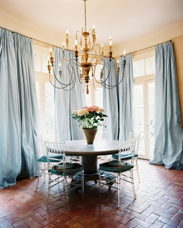 Blue Curtains - Eclectic - dining room - Lonny Magazine on Dining Room Curtains  id=82424