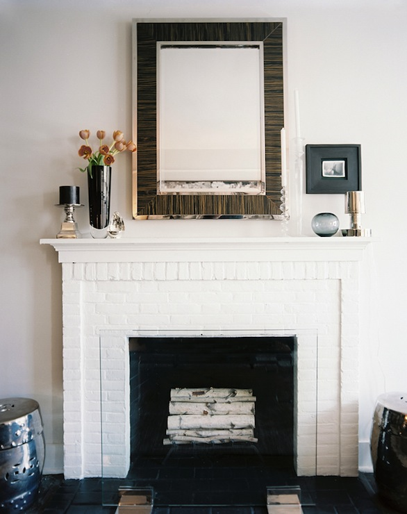 Mirror Above Fireplace Contemporary Living Room