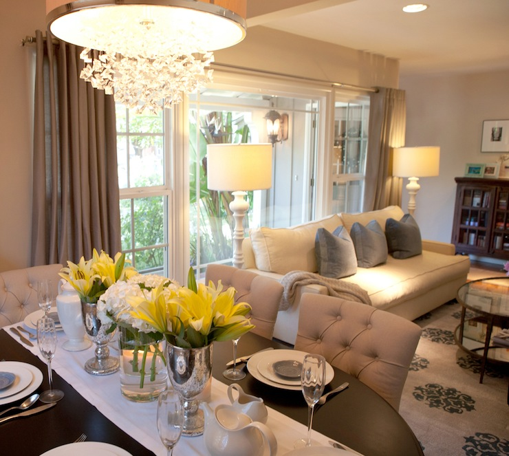 Open Floor Plan Dining Room - Transitional - dining room ... on Living Room Wall Sconce Ideas For Dining Area id=63789