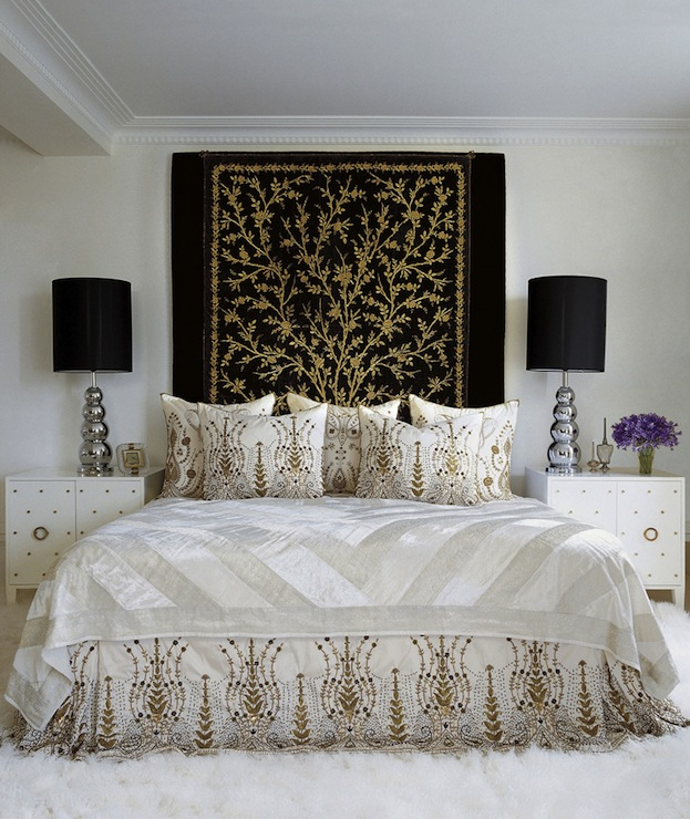 gray and gold bedroom with pendants over nightstands black white grey gold bedroom bedroom style