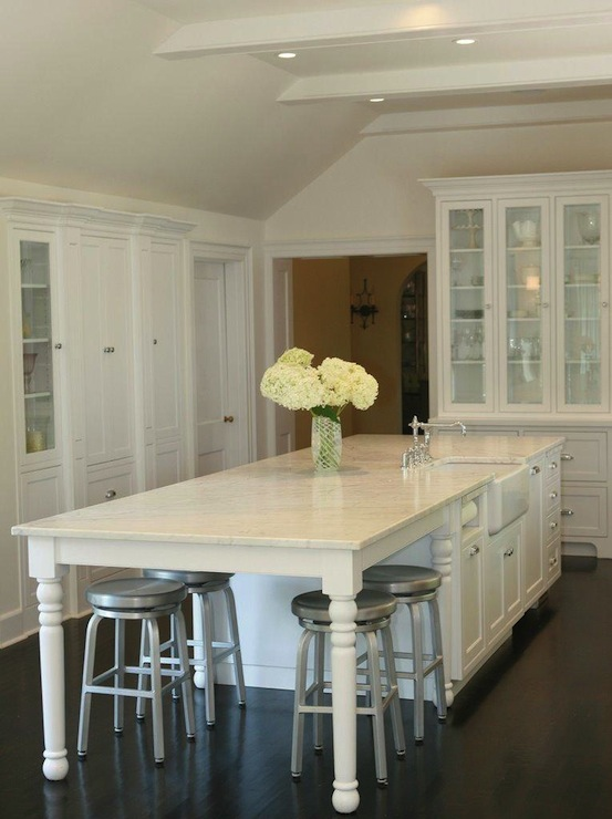Long Kitchen Island Traditional Kitchen West End