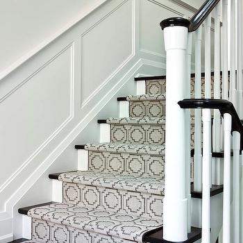 Stairwell Wainscoting Design Ideas | Square Rug For Stair Landing | Area Rugs | Stair Treads | Handrail | Flooring | Mat