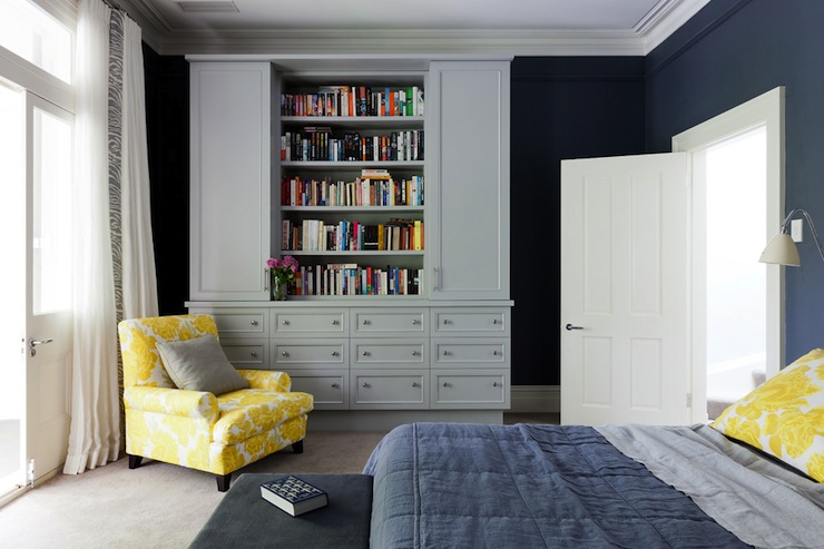 Blue Yellow Gray Bedroom Contemporary Bedroom Arent Pyke