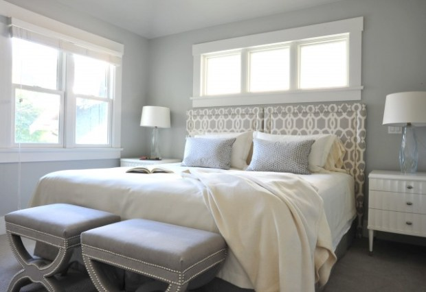 Paint the Walls Silver Walled Bedroom with Silver Accents Matching Bedside Lamps Ottoman Decorative Headboard