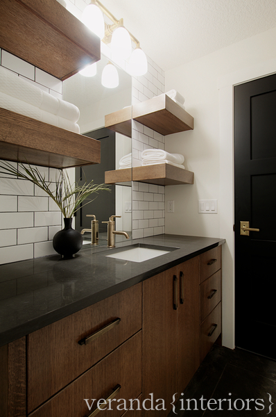 Brown Subway Tiles Contemporary Bathroom SR Gambrel