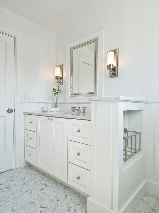 marble herringbone tile floor cottage