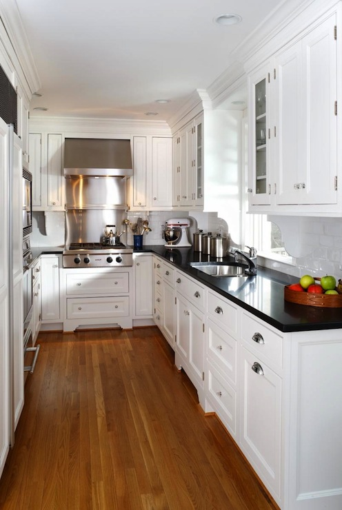 White Kitchen Cabinets with Black Countertops ... on Black Countertops  id=32023
