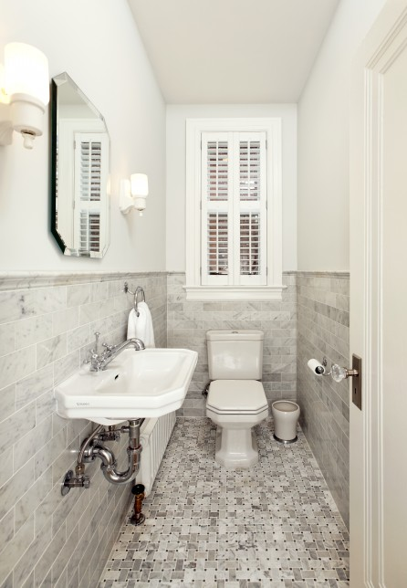 Marble Subway Tile Transitional Bathroom Four Brothers LLC