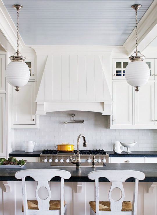 Amazing Kitchen With Blue Beadboard Ceiling Painted Watery Sherwin Williams Rarified White And Floor To Shaker Cabinets