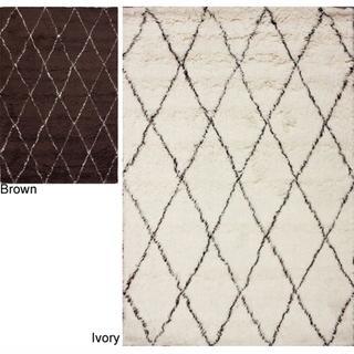 Handmade Diamond Moroccan Wool Shag Rug