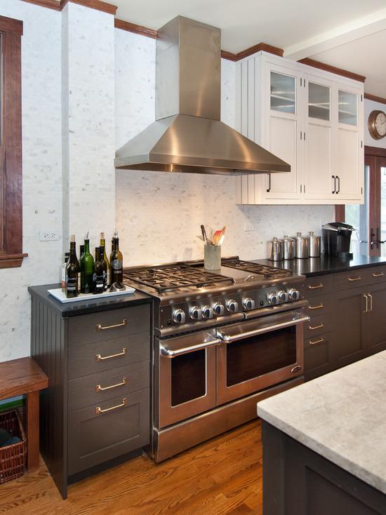 White Upper Cabinets Dark Lower Cabinets Vintage