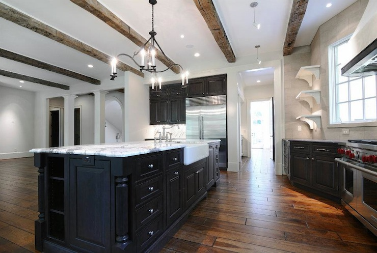 Rustic Wood Beams Country Kitchen Dresser Homes