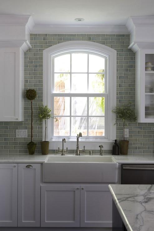 Green Brick Backsplash Tiles Transitional Kitchen