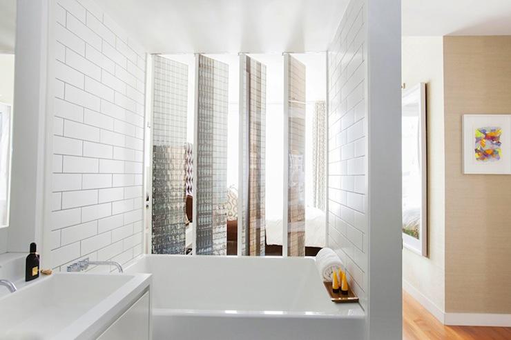 subway tile shower mirrored bathroom