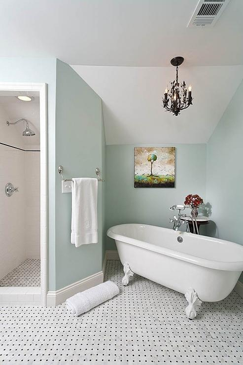 Chandelier Over French Claw Foot Tub