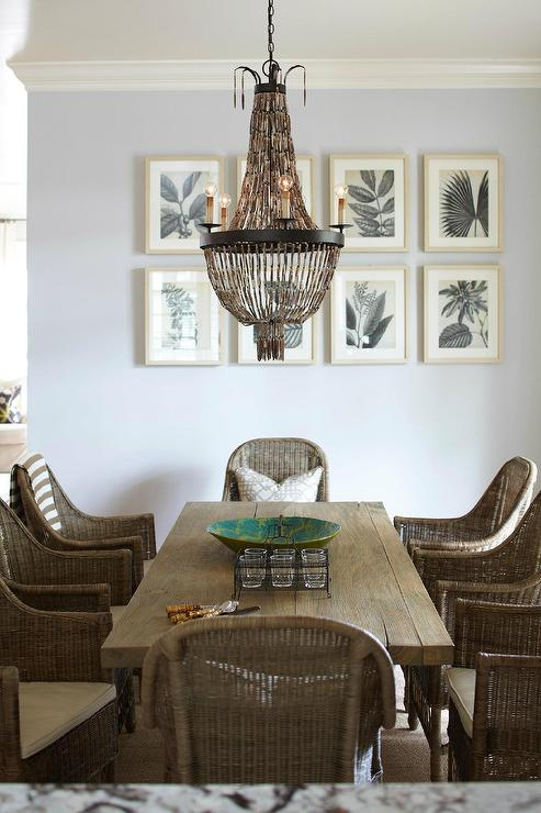 Beaded Chandelier Cottage Dining Room Interior