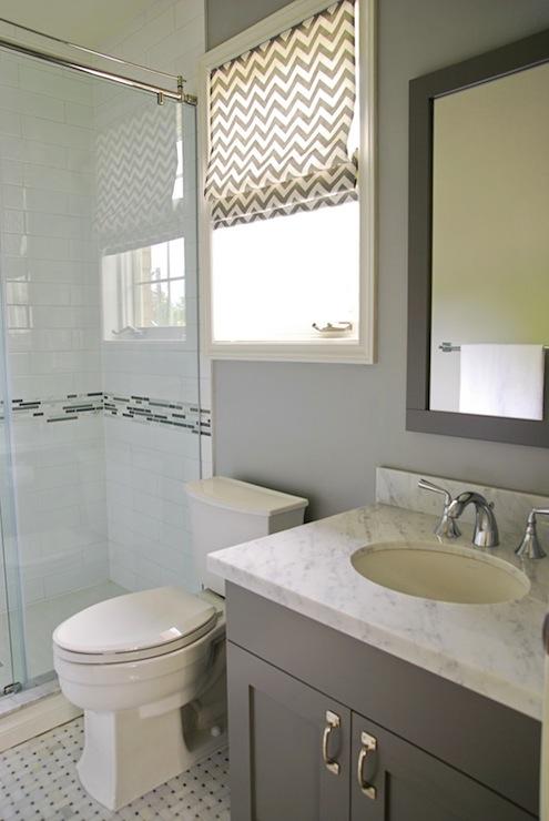 Gray Chevron Roman Shade Contemporary Bathroom