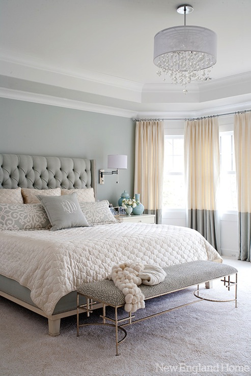 Regina Andrew Silver Glass Leaves Chandelier Contemporary Bedroom Taylor Hannah Architect