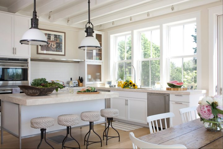 Country Industrial Pendants Traditional Kitchen