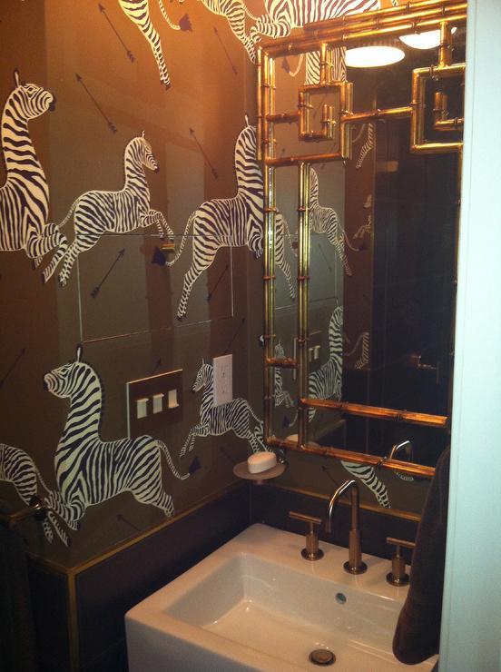 Brown Zebra Wallpaper Transitional Bathroom