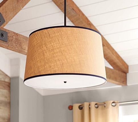 khaki navy drum flush mount light