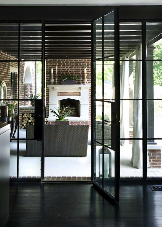 steel framed patio doors transitional