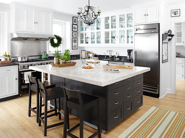 Black Kitchen Island Transitional Kitchen HGTV
