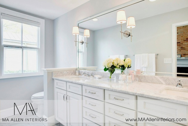 white bathroom cabinets with marble countertops - contemporary