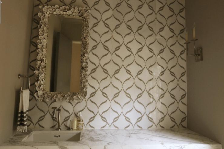 Seashell Encrusted Mirror Contemporary Bathroom