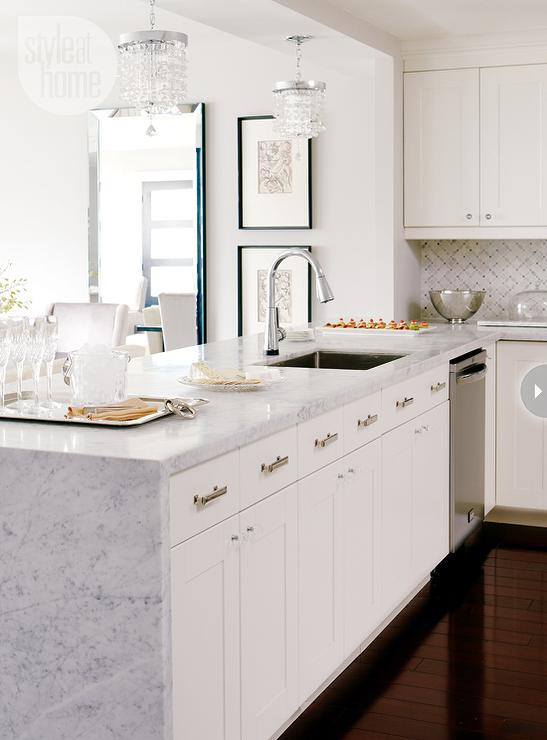 oriental white marble tile backsplash