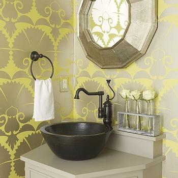 Yellow And Gray Floral Wallpaper Contemporary Dining