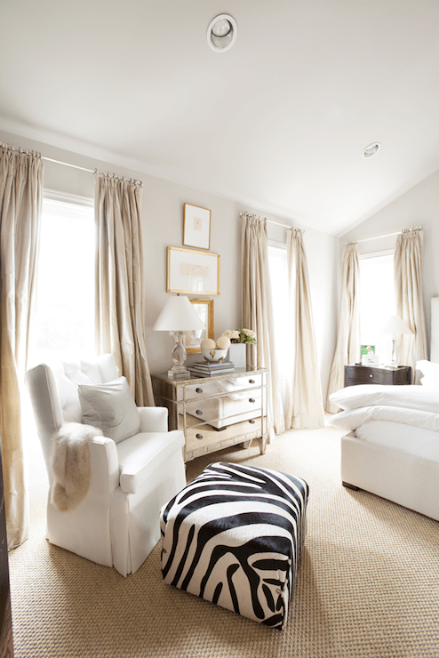 Zebra Ottoman Transitional Bedroom Ashley Goforth Design