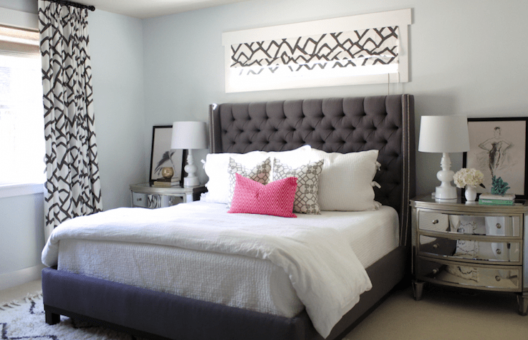 Gray Tufted Headboard With Nailhead Trim