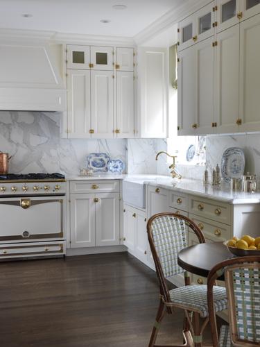 White Kitchen Cabinets With Brass Hardware Transitional Kitchen Elizabeth Bauer Design