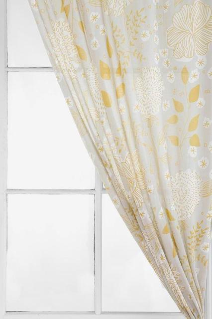 Window Treatments - Plum & Bow Sketch Floral Curtain I Urban Outfitters - gray and yellow floral curtains, gray and yellow floral drapes, gray and yellow floral draperies,